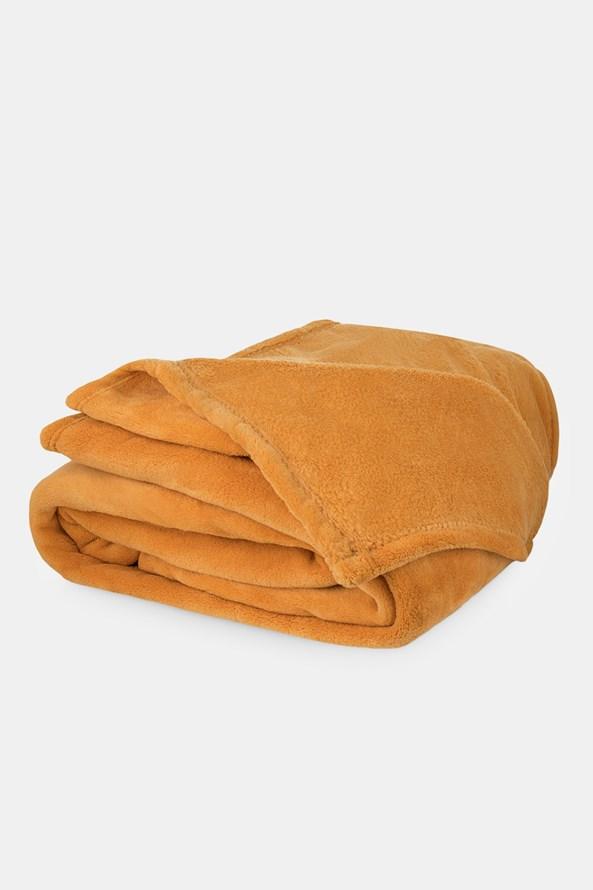 Mikroplyšová deka horčicová