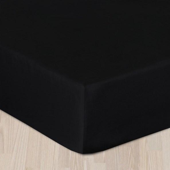 Gumis pamut szatén lepedő fekete
