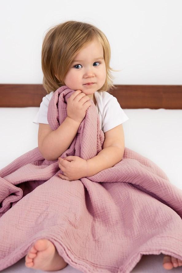Muslin gyermek pléd, rózsaszín