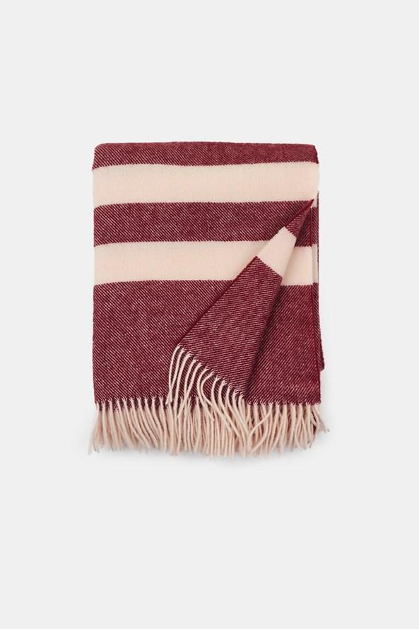 Luxusná vlnená deka Stripe vínová