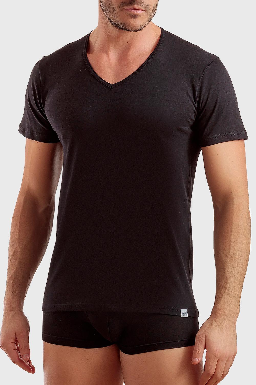 Enrico Coveri Pánske basic tričko s výstrihom do V biela S