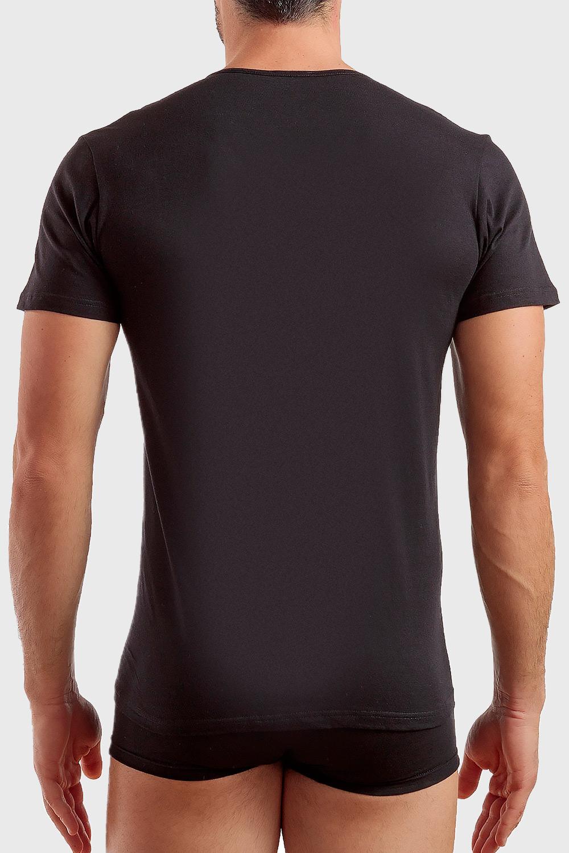 Enrico Coveri Pánske basic tričko s výstrihom do V ČIERNA S