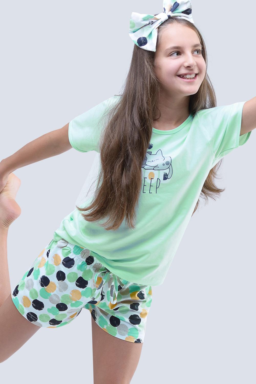 Gina Dievčenské letné pyžamo Cats aqua