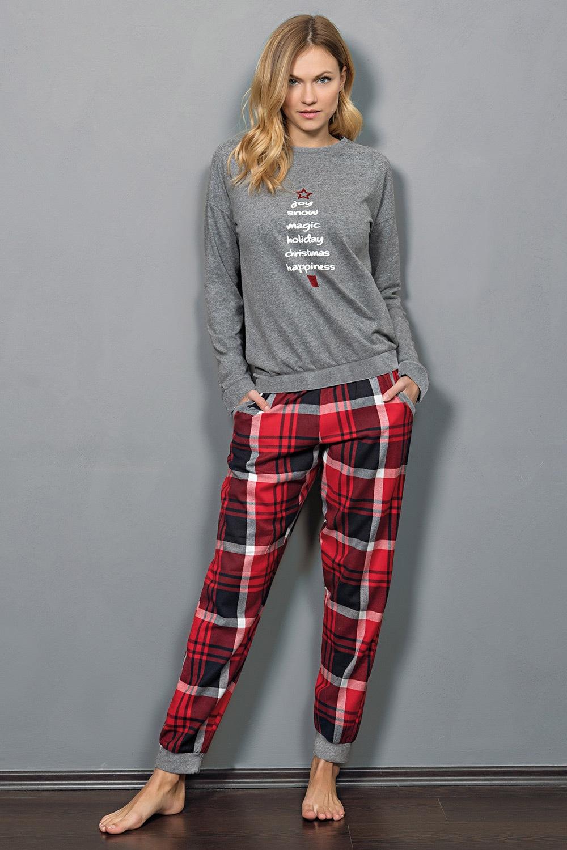 Jadea Dámske pyžamo Christmas šedá M