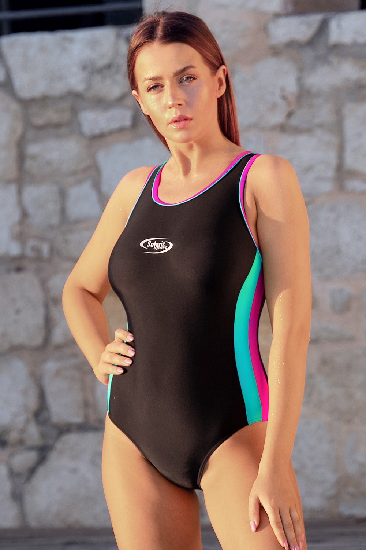 Volin Dámske športové jednodielne plavky Alex Martinica New čierno-ružová L