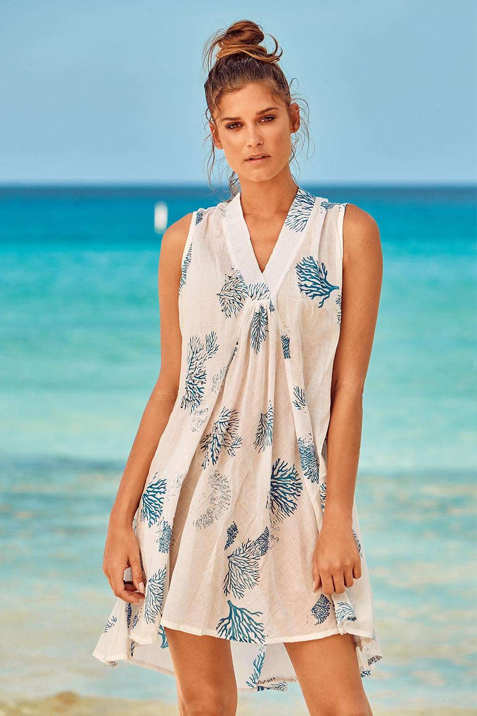 David Beachwear Plážové šaty Itaca White bielo-modrá L